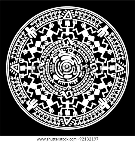 stock-vector-vector-circle-reminiscent-of-the-mayan-calendar-92132197    Mayan Symbols Vector