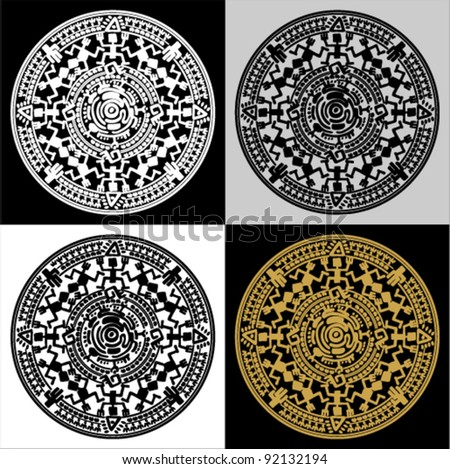 Vector circle reminiscent of the Mayan calendar. Set