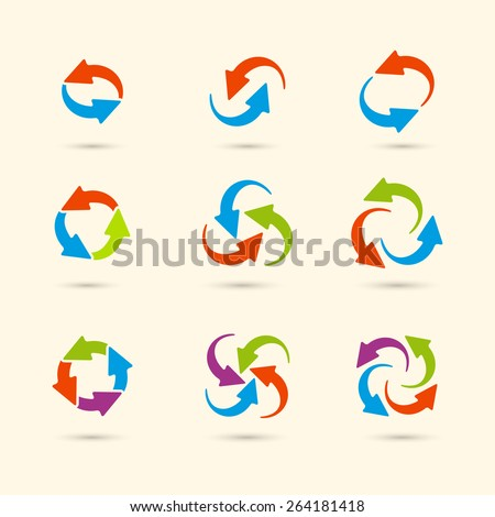 Vector circle round colored arrows set for business, diagram in flat style. Eps10