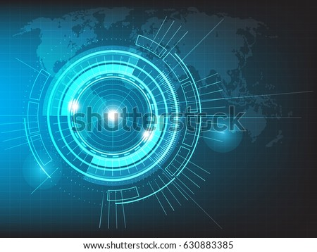 Vector circle technology with world map on blue background.
