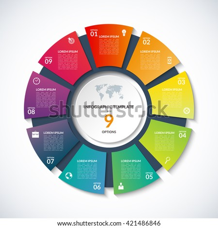 Shutterstock Vector circle template for infographics. Business concept with 9 options, steps, parts, segments. Banner for cycling diagram, round chart, pie chart, business presentation, annual report, web design