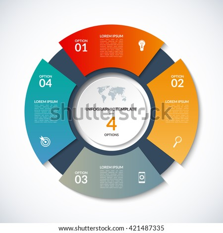 Vector circle template for infographics. Business concept with 4 options, steps, parts, segments. Banner for cycling diagram, round chart, pie chart, business presentation, annual report, web design
