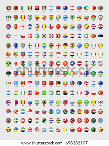 Vector circle world flags with glass effect #698282107