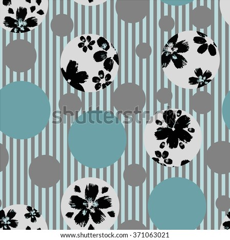 Vector  circles abstract seamless pattern background with hand drawn flower elements #371063021