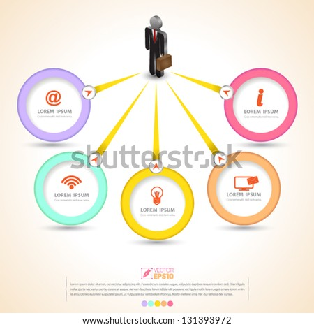Vector circles  business concepts with  icons / can use for info-graphic / loop business report or plan / modern template / education template / business brochure /  system diagram