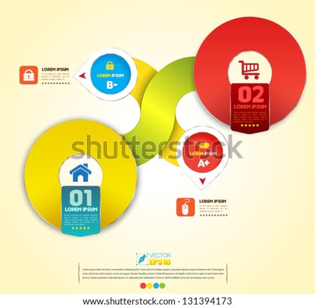 Vector circles color  business concepts with  icons / can use for info-graphic / loop business report or plan / modern template / education template / business brochure /  system diagram