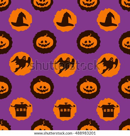 Vector circles Halloween background with pumpkins, houses and ghosts. Seamless holiday pattern.