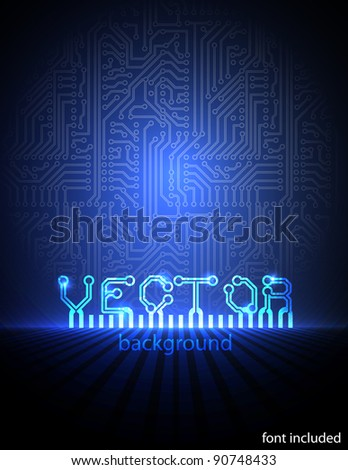 Vector circuit board blue electronic background. eps10