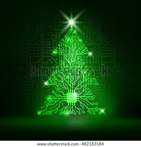 vector circuit board christmas