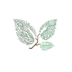Vector circuit board twig with leaves