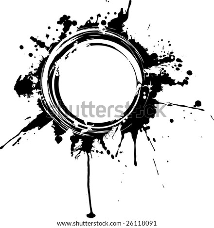 Vector circular grunge frame. The drips can be removed without affecting the circle border.