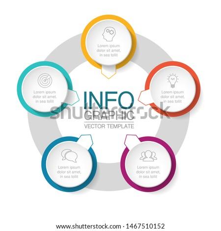 Vector circular infographic diagram, template for business, presentations, web design, 5 options. Stockfoto ©