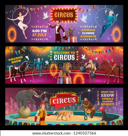 Vector circus show and carnival performance of clown, magician and animal trainer, juggler, acrobats and strongman performers on arena stage with lion, elephant and bear, horse, tiger and seal
