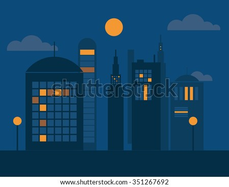 vector cities silhouette dark