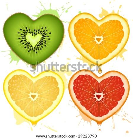 Vector citrus hearts - stock vector