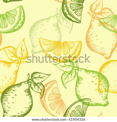 vector citrus seamless pattern on a green background - stock vector
