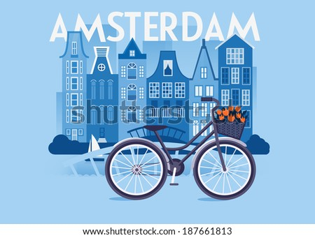 Vector city background. Amsterdam
