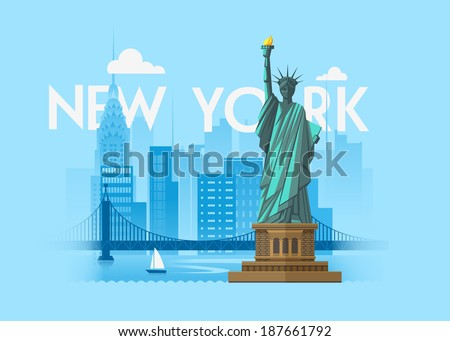 Vector city background. New York