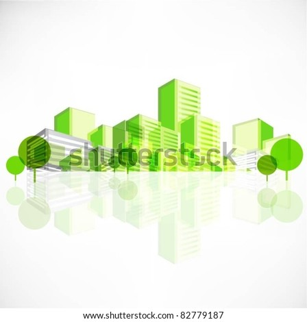 vector city background with trees