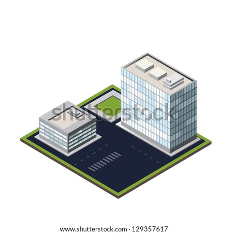 Vector city block on a white background