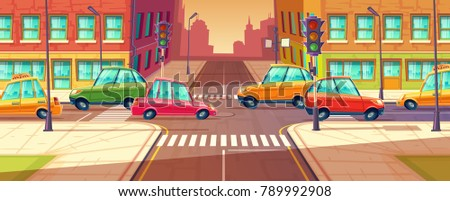 Vector city crossroads, traffic jam, transport moving, vehicles navigation. Urban highway, crosswalk with traffic lights. Cartoon illustration