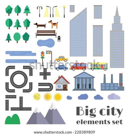 vector city element set for