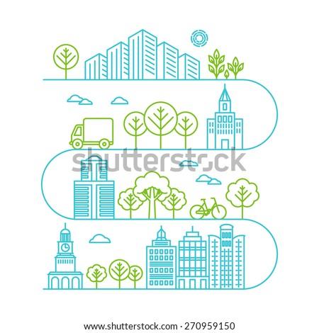 vector city illustration in