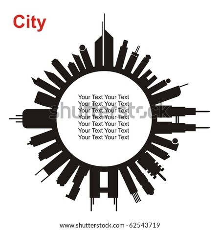 VECTOR - City in circle shape - Buildings & Towers