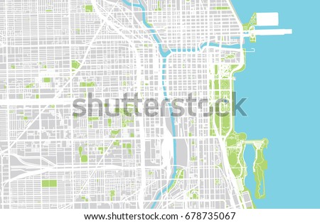 vector city map of chicago