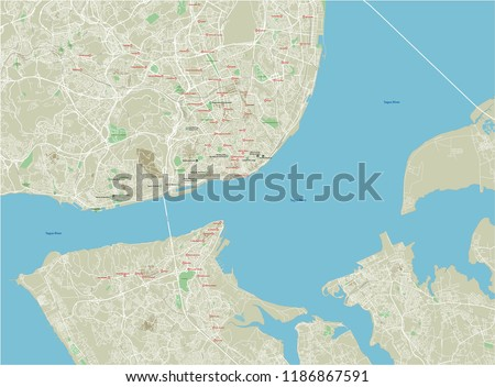 Vector city map of Lisbon with well organized separated layers.