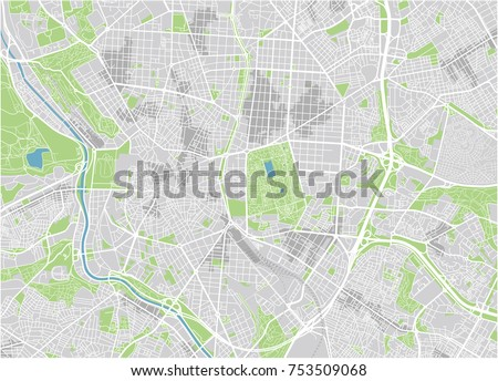 Vector city map of Madrid with well organized separated layers.