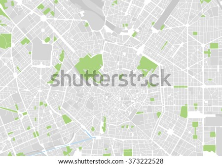 vector city map of Milan, Italy