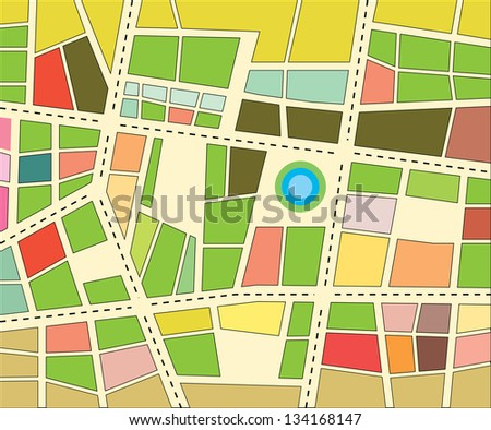 Vector city map with colored districts