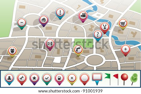 vector city map with GPS icons