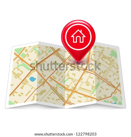 Vector City map with label home pin isolated on white