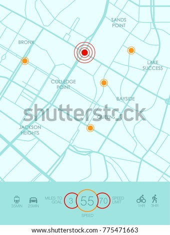 Vector city map with route and data interface for gps navigation and tracker app. Roadmap navigators UI, navigation plan vector illustration.