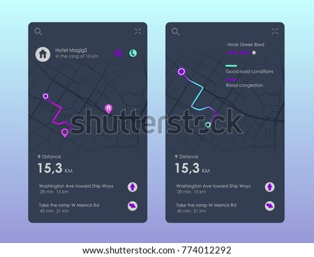 Vector city map with route and data interface for gps navigation and tracker app. Vector illustration