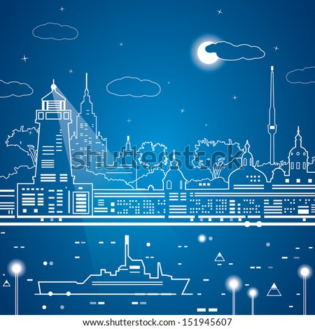 Vector city of white lines, neon line town, ship on the water