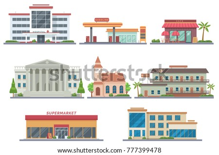 vector city public buildings