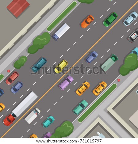vector city road with cars with