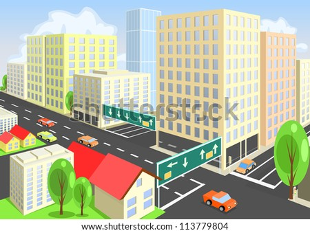 Vector city view from above. Vector art - stock vector
