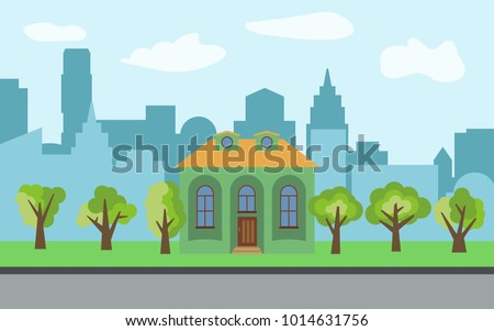 Vector city with cartoon house and green trees in the sunny day. Summer urban landscape. Street view with cityscape on a background