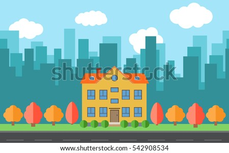 vector city with cartoon houses