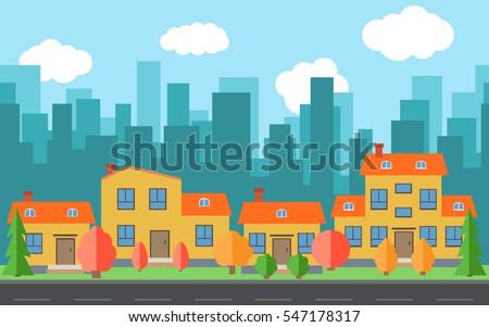 vector city with cartoon houses