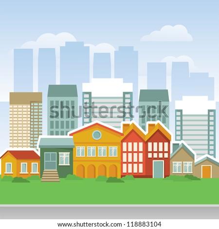 vector city with cartoon houses ...