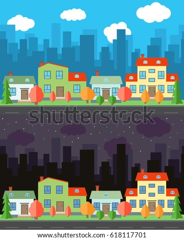 vector city with four cartoon