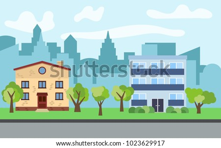 vector city with two story and