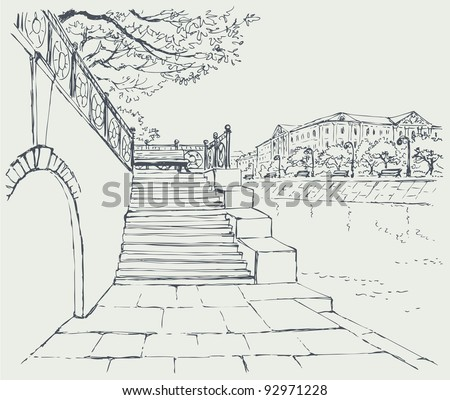 Vector cityscape. An old stone quay. Steps to the alley with a bench to rest