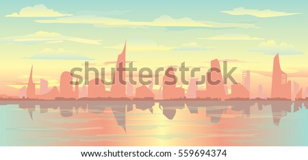 Vector cityscape illustration city silhouette, cloudy sky and reflection on water