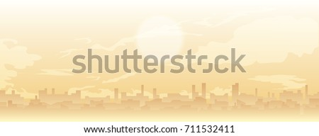 vector cityscape illustration. cloudy sky and rooftops. skyline in sandstorm